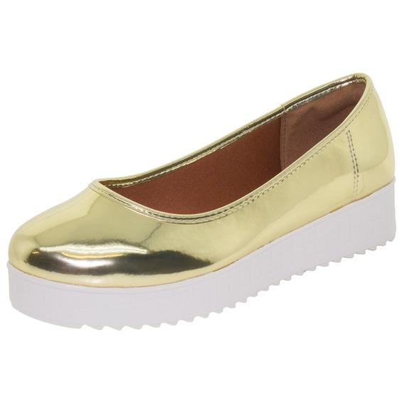 Sapatilha Feminina Flatform Ouro Azaleia - 624251