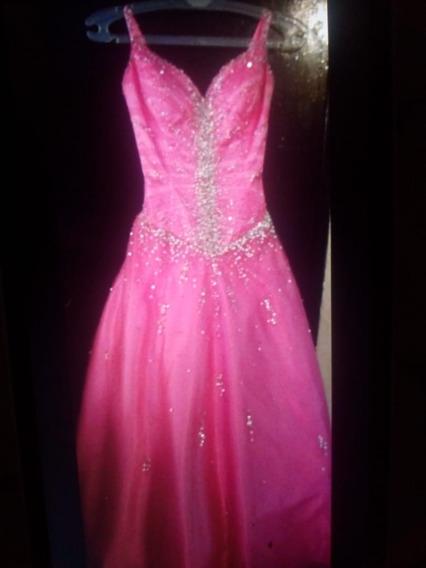 Bonito Vestido De 15 Años Marca Lafayette Color Fucsia Talla