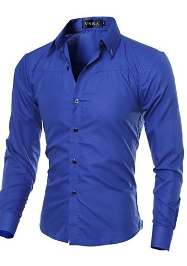 Camisas, Slim Fit, Para Caballero, Casual, Camisa Manga Lar