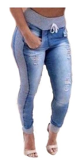 Calça Feminina Jeans Com Moletom Barato