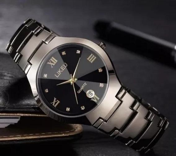 Relógio Social De Pulso Aço Inoxidável Cor Bronze