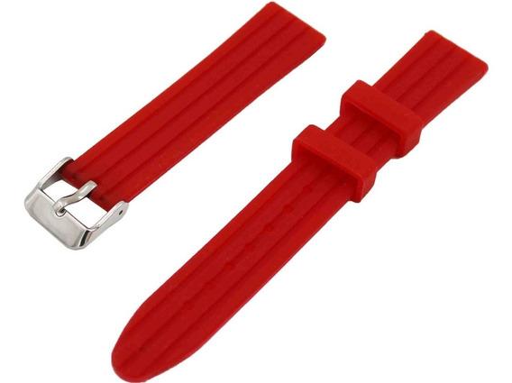 Pulseira 18mm Para Relógio De Borracha Silicone Vermelho