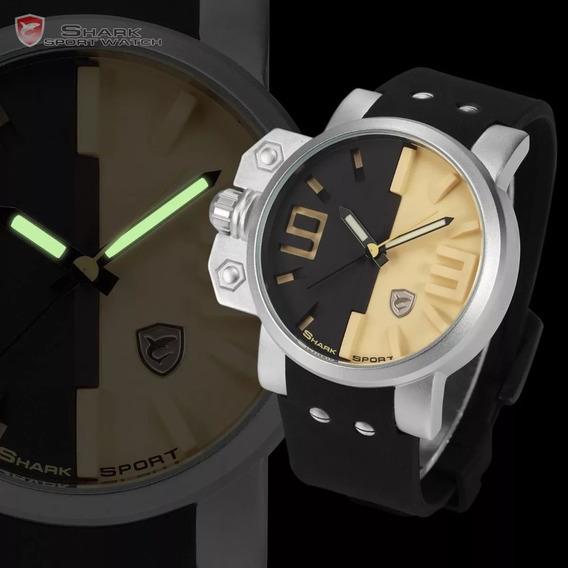 Relógio Masculino Shark Salmon Series Couro Original Na Caix
