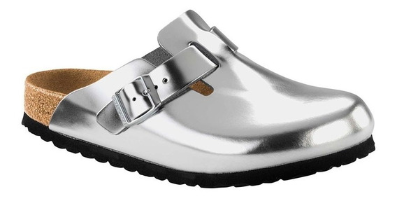 Zuecos Birkenstock Boston Nl Metallic Silver N