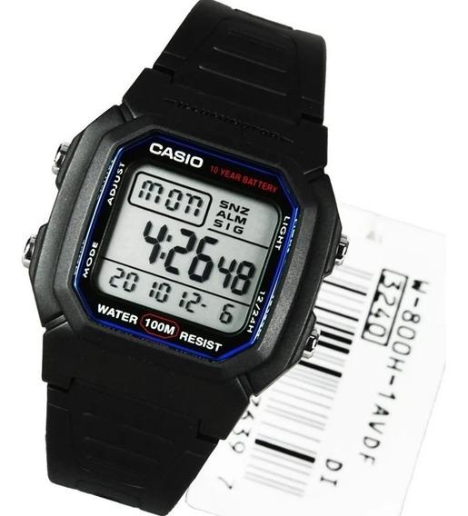 Casio W 800 -1av Unissex Preto Alarme Original 100mt