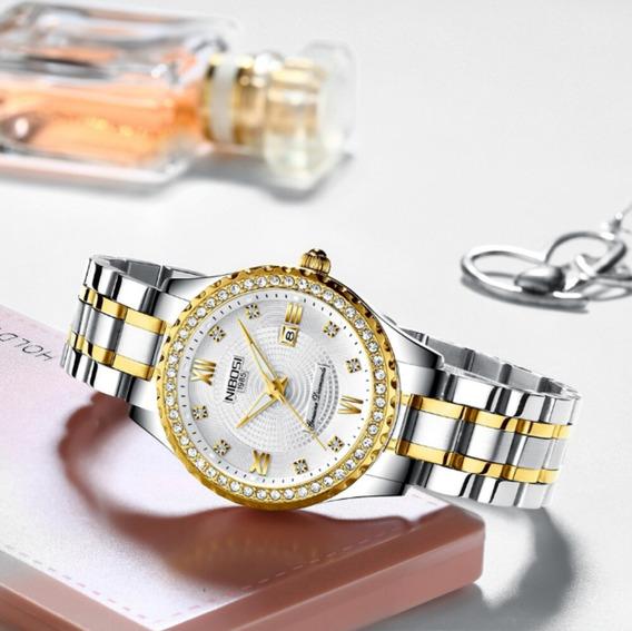 Relógio Nibosi Feminino Original Prata Dourado Delicado Lind