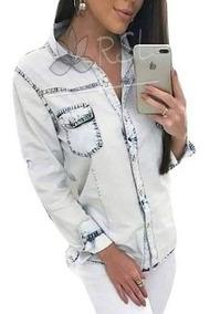 Camisa Jeans Manga Longa Feminina Promoção