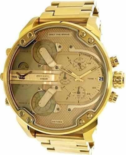 Relógio Diesel Dz7399 Mr. Daddy 2.0 Dourado Original 57 Mm