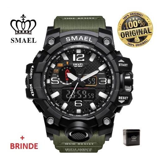 Relógio Esportivo G.chock Smael 1545 Verde Militar C/ Caixa