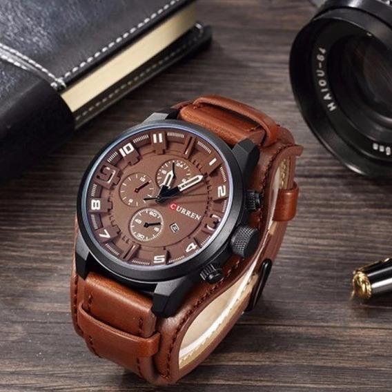 Relógio Masculino De Pulso 8225 Pulseira De Couro Original