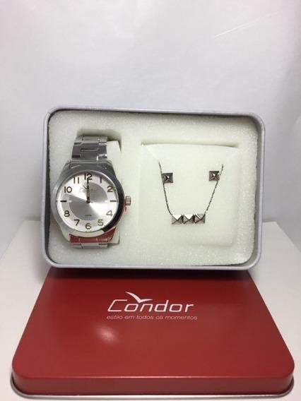 Relógio Condor Conjunto Colar E Brincos Co20355kqm\3k =24