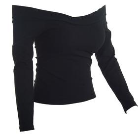Blusa Cropped Canelado Manga Longa Feminino Ombro Ciganinha