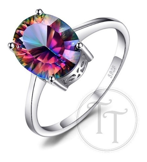 Anillo Topacio Arcoiris 2.5 Ct Plata Esterlina 925 Solitario