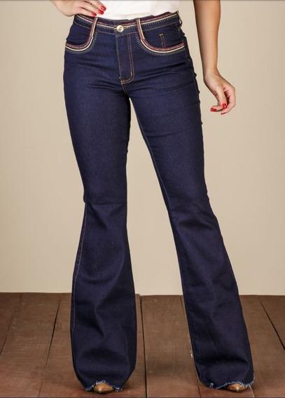 Calça Jeans Feminina Flare Minuty Country 19418 Bordada