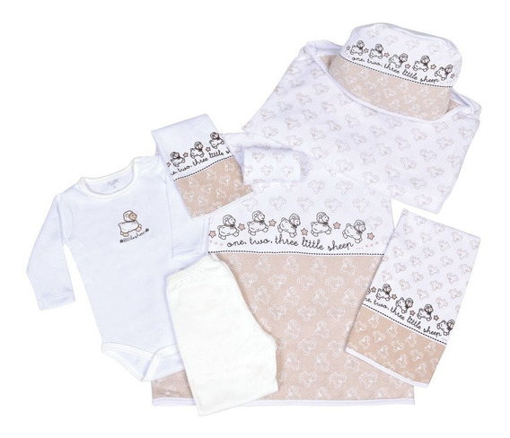 Baby Kit Colibri Carneirinhos Bege 7pçs