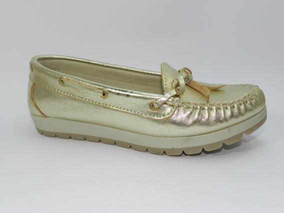 Zapato Mocasin Dama Cuero Kaprise 1032 Platino