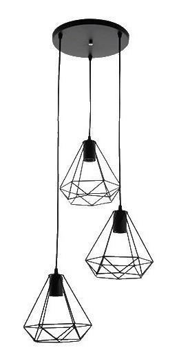 Lámpara Colgante Triple Estilo Retro Negro Acero Mate Maxxi