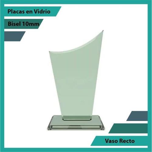 Placas Conmemorativas En Vidrio Vaso Recto Plano