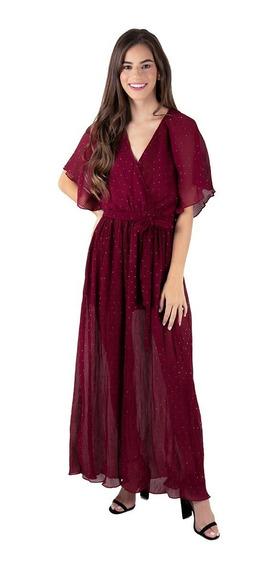 Vestido Largo Envolvente De Puntos Color Vino