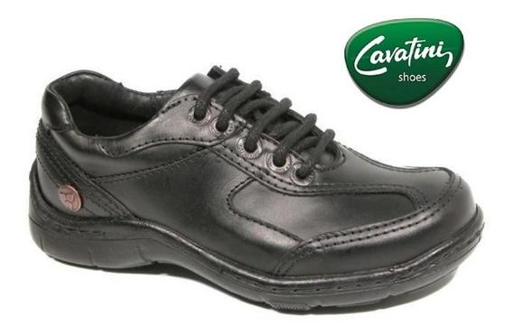 Zapato Cavatini 20-0354-acordonado-flor Negro