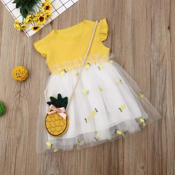 Vestido Bebê Abacaxi Tule E Malha Canelada