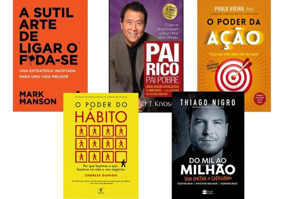 Kit 5 Livros Poder Do Hábito+ Pai Rico Pai Pobre+ Poder Ação