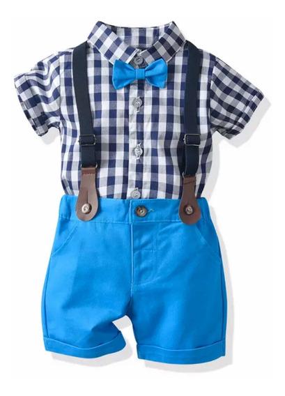 Conjunto Bebé Niño Formal Cuadros Azul Camisa Moño Short