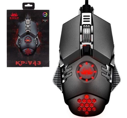 Mouse Gamer Com Fio Usb Led 6400dpi 6 Botões Kp-v43 Knup