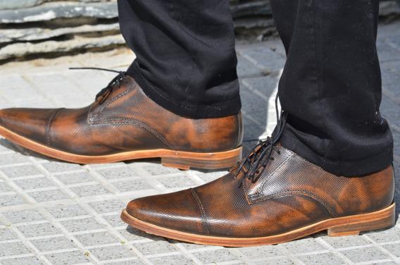 Zapato Hombre Marron Cuero Grabado 100 % Cuero Moda