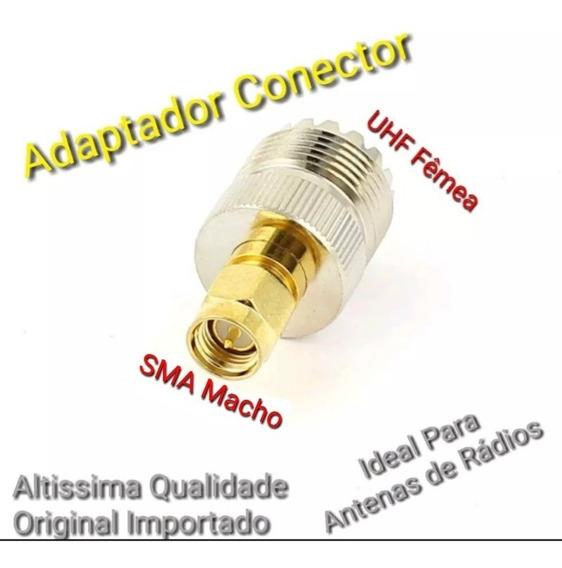 Conector Para Cabo Coaxial Adaptador Uhf Fêmea Tipo F Macho