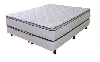 Sommier Y Colchón 200x200 Alta Densidad Doble Pillow Luxe