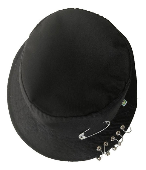 Chapéu Bucket Hat Preto Bts-k-pop, Com Argolas Piercing
