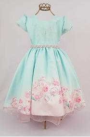 Vestido De Festa Infantil Verde Tiffany Floral Rosas 4 Ao 16
