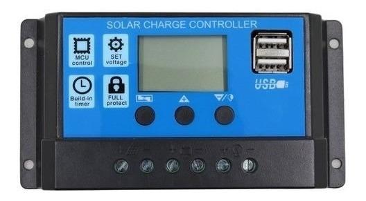 Controlador De Carga Solar 30a Lcd Usb Automatico Pwm