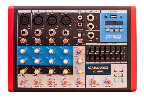 Mesa De Som Soundvoice Mc6 Eux 6 Canais Em Santa Catarina
