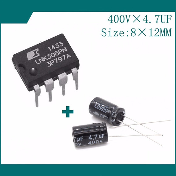 Kit 10 Lnk306pn + 20 Capacitores 4,7uf X 400v Carta