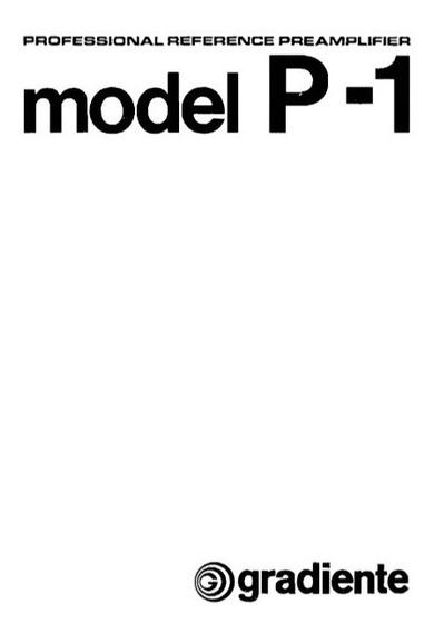 Manual Do Pré Amplificador Gradiente P-1 / Digital