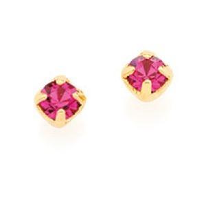 Brinco Infantil Rommanel Cristal Rosa De 3mm - 520627 00 37