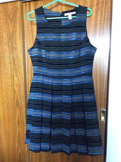 Vestido Forever 21 Médium Azules Y Negros Terciopelo