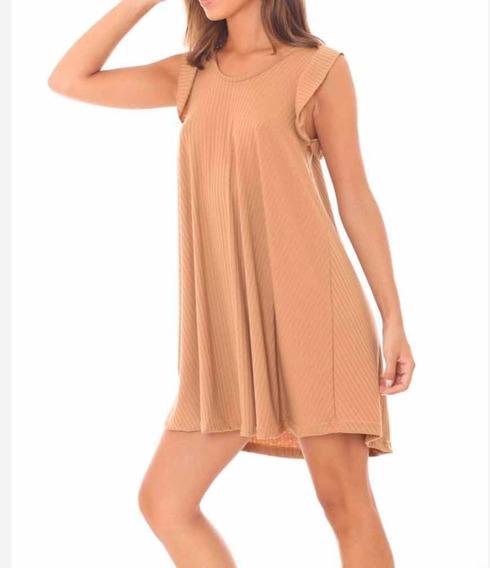 Vestido Morley - Volados - Camel
