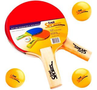 2 Raquetes Ping Pong + 3 Bolinhas De Tenis De Mesa Bel Fix