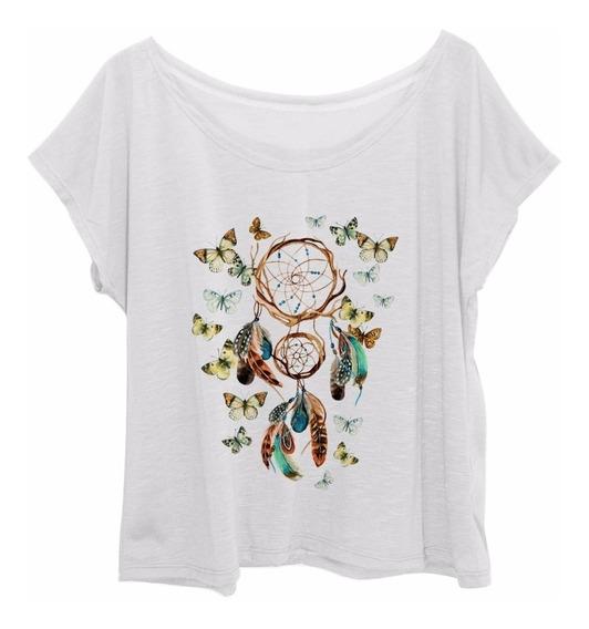 Blusa Feminina Plus Size Estampa Borboleta Apanhador Sonhos