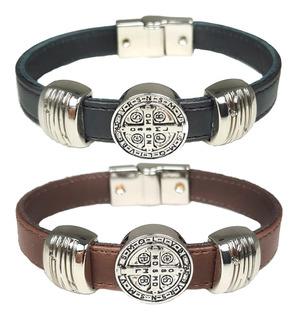Bracelete De Couro Santo São Bento Comunidade Oração Fé Amor