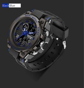 Relógio De Pulso Masculino Funcional Aço Blue + Frete Grátis