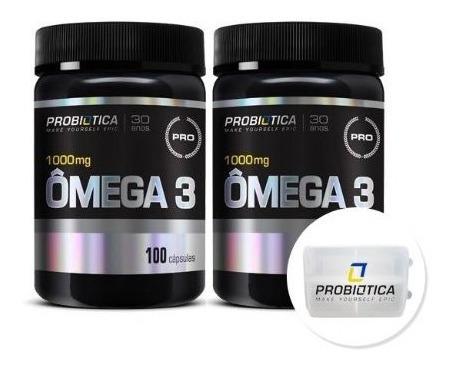 2x Ômega 3 - 100 Cáps - Pro Health   Porta Cáps - Probiótica