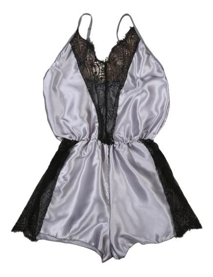 Pijama Sexy Baby Doll Satinada Con Encaje Para Dama