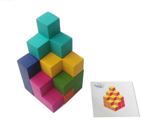 Imagen 1 de 6 de Cubo Soma De Madera Rompecabezas 3d C/tarjetas De Reto /base