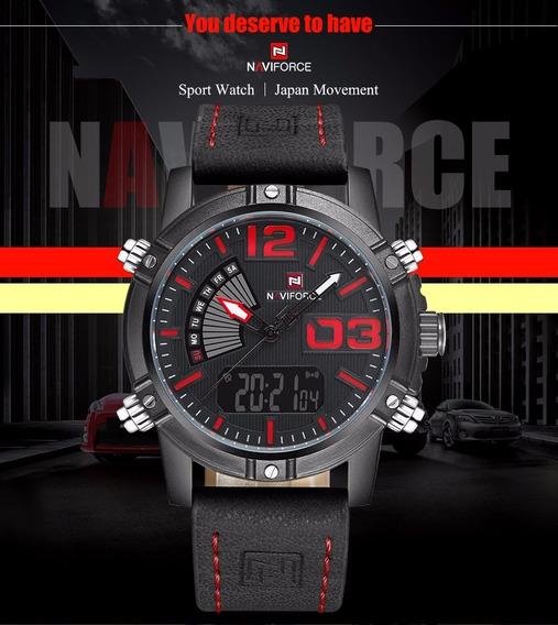 Relógio Masculino Esportivo Naviforce 9095 Original Couro