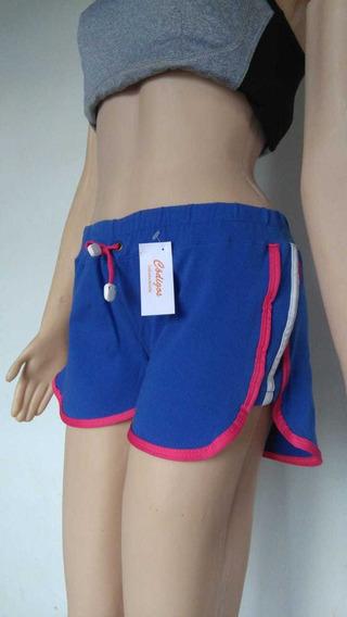 Short Deportivo Mujer Elastizado Azul Fucsia Combinado