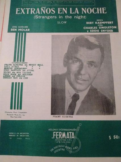 Antigua Partitura Frank Sinatra Extraños En La Noche 1966